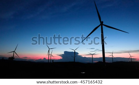 Wind turbines power generator at sunset in phetchabun