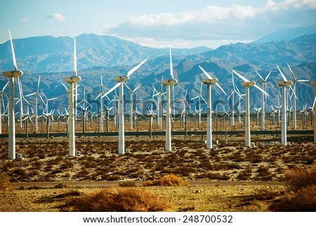 Wind Turbines PowerPlant in California, United States. - stock photo