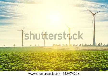Wind Turbines - renewable energy sources - stock photo
