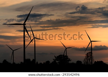 Wind turbines, wind Farms silhouette at sunset in Thailand
