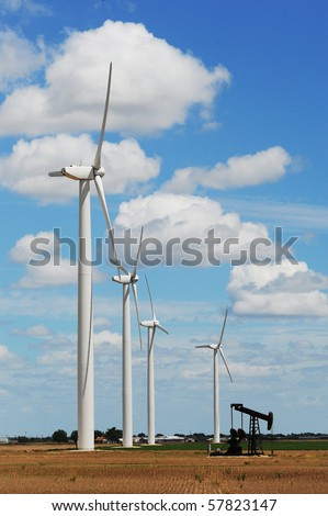 Wind Turbines with old oil well pump in Sweetwater ,Texas
