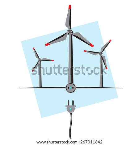 Wind Turbines with plugin socket and wire. Wind Energy concept - stock photo