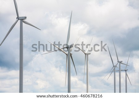 Wind turbines with the clouds and sky, renewable energy
