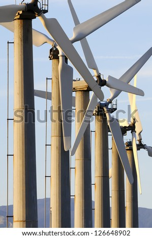 Wind turbins in Palm Springs, California. - stock photo
