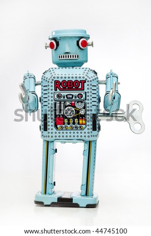 wind up tin toy - stock photo
