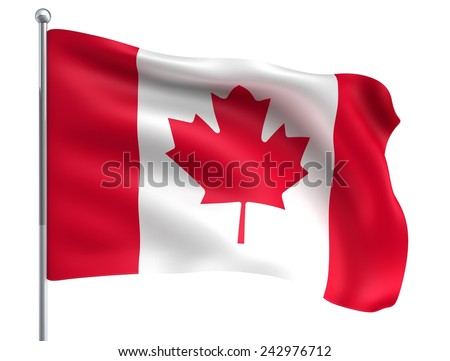 Wind Wave Canada Flag in High Quality Isolated on White with Flagpole - stock photo