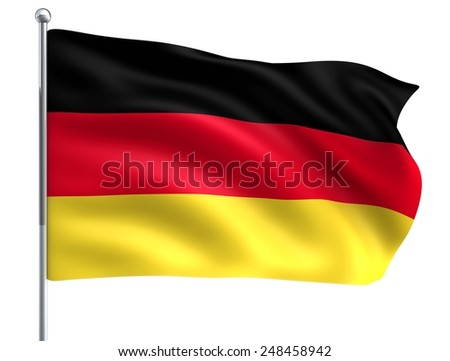Wind Wave Germany Flag in High Quality Isolated on White with Flagpole