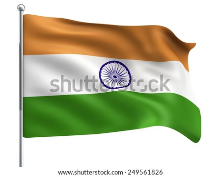 Wind Wave India Flag in High Quality Isolated on White with Flagpole  - stock photo