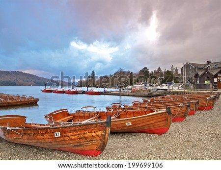 Windermere Rowing Boats. - stock photo