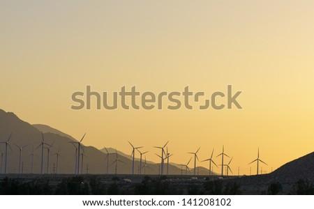 Windfarm at sunset, Palm Springs, California. - stock photo