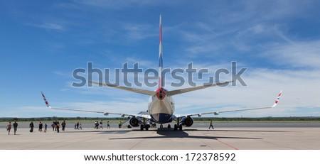 WINDHOEK, NAMIBIA, 3 jan 2014 - Palen of British Airways at Windhoek Airport. Tourist visit Namibia for it's extensive wildlife.  - stock photo