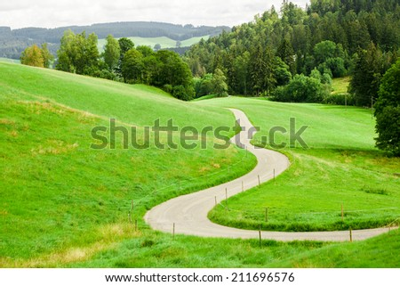 Winding Country Road Drawing Winding Country Road Between