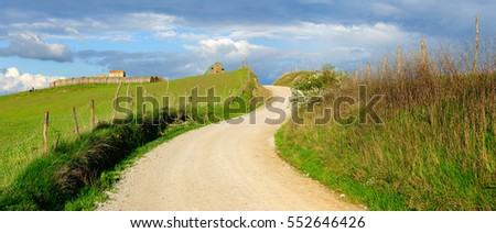 Winding Dirt Road through Fields and Pastures, Tuscany, Italy