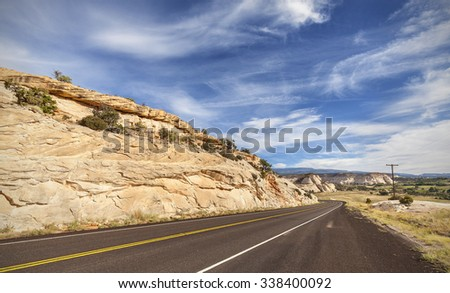 Winding empty road, travel concept picture.