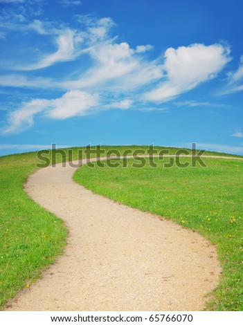 Winding footpath and green lawn against blue sky.
