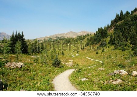 Winding hiking trail in sunshine meadows, one of the best trails at banff national park, alberta, canada - stock photo
