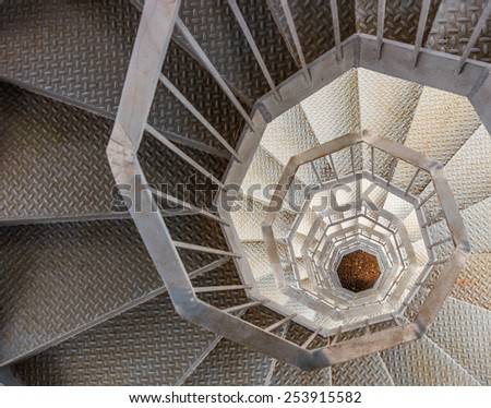 Winding metal staircase