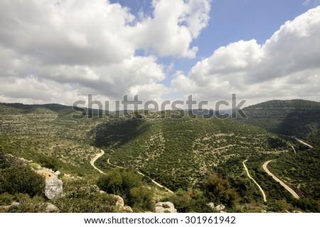 Winding mountain railroad in Sorek gorge near Jerusalem, Israel - stock photo