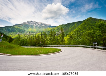 Winding Paved Road in the Italian Alps