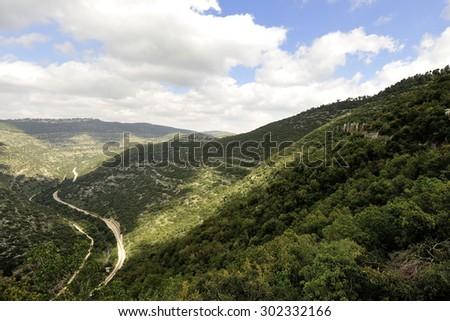 Winding railroad in Sorek gorge,Jerusalem mountains. - stock photo
