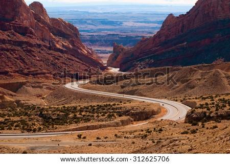 winding road - stock photo