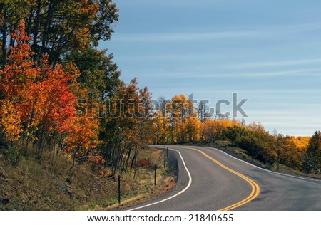 Winding road and Fall color on the trees
