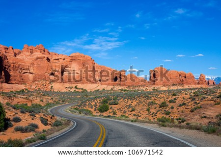 Winding road at Arches National Park, Utah - stock photo