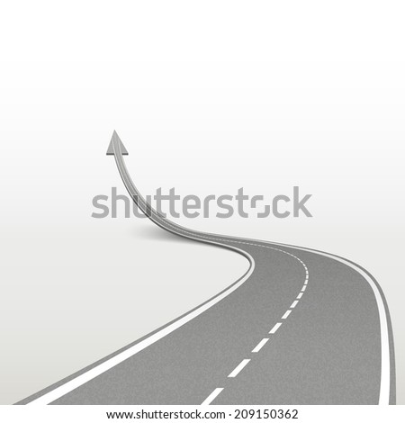 winding road in arrow shape isolated over white background - stock photo