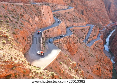 Winding road in Atlas Mountains, Morocco - stock photo