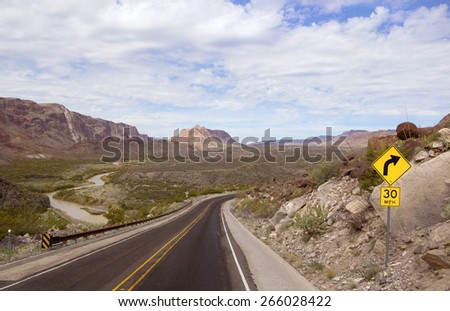 Winding road in Big Bend park, Texas, USA - stock photo