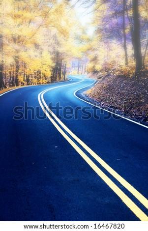 Winding road in fog - stock photo