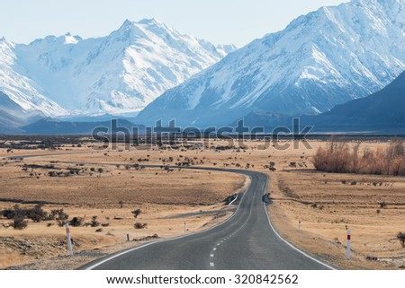 Winding road in high country, Mt.Cook national park, New Zealand - stock photo