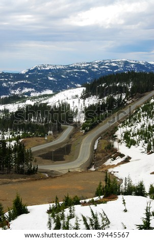Winding road in mountain washington, vancouver island, british columbia, canada - stock photo