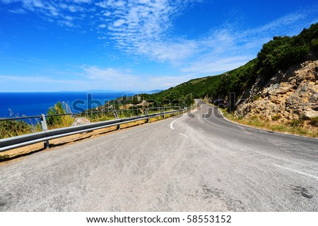Winding Road In The Mountains Along The Coast