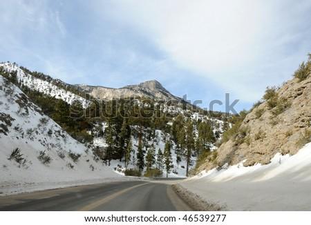 Winding road near Mount Charleston, Nevada, USA - stock photo