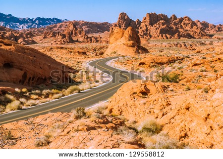 Winding road running through the Valley of Fire, Nevada, USA - stock photo