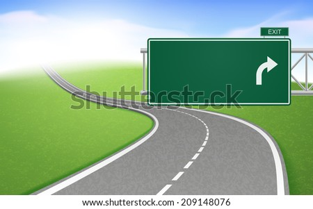 winding road with road sign over bright background