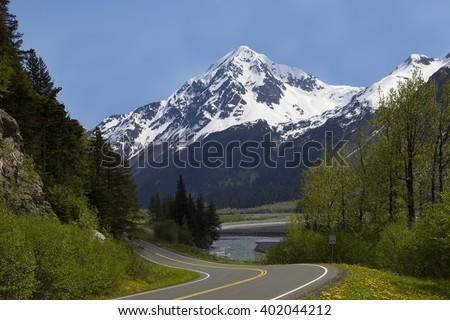 Winding Roads Through Alaska Mountains - stock photo