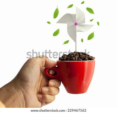 windmill and coffee beans in red cup isolated on white background  - stock photo