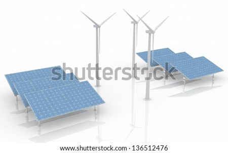 Windmill and Solar Panels on white background. Alternative Energy Concept. - stock photo