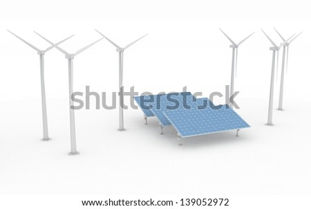 Windmill and Solar Panels on white background. Alternative Energy Concept.