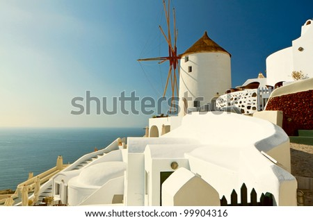 Windmill at Oia of Santorini island in Cyclades, Greece - stock photo