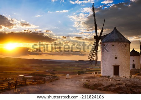 Windmill at sunset, Consuegra, Spain - stock photo