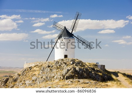 windmill, Consuegra, Castile-La Mancha, Spain - stock photo
