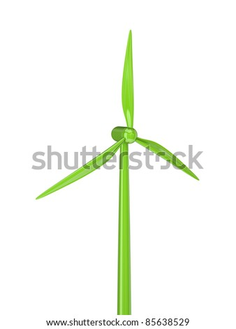 Windmill.3d rendered.Isolated on white background. - stock photo