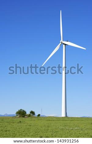 windmill for  electric power production, Gurrea de Gallego, Huesca, Aragon, Spain - stock photo