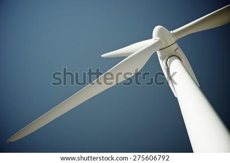 Windmill for electric power production, Pozuelo de Aragon, Zaragoza Province, Aragon, Spain. - stock photo