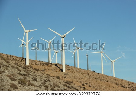 Windmill Generating Electricity for People in Southern California - stock photo
