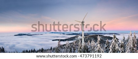 windmill in black forest in winter