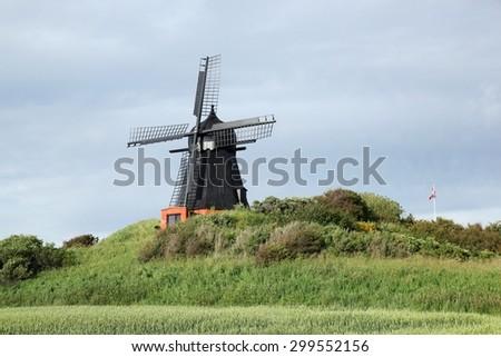 Windmill in Borglum near Lokken in Denmark - stock photo